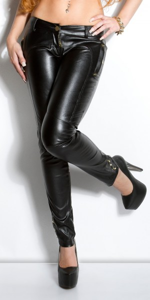 Sexy KouCla Lederlook-Hose mit Taschen