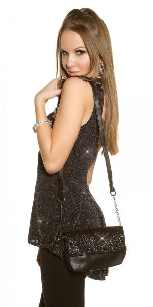 Glamour Clutch mit Kette und Pailletten