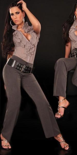 Sexy Stoff-Hosen mit hohem Bund und XL-Gürtel
