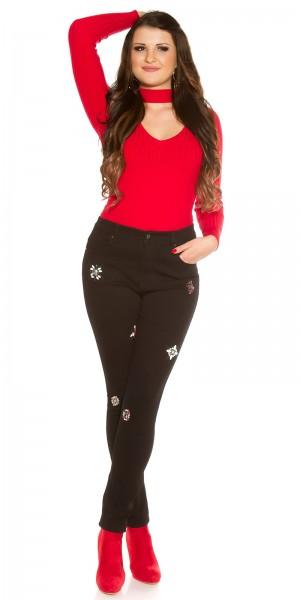 Curvy Girls Size! Trendy Jeans mit Glitzersteinen