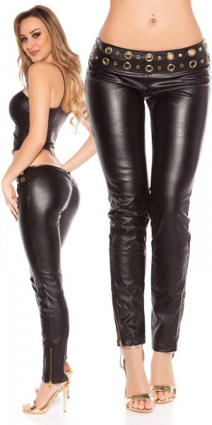 Sexy Hüft-Skinny-Hosen im Lederlook mit Nieten