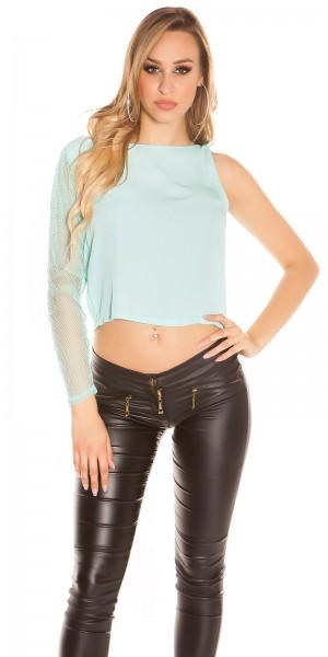 Sexy One-Arm-Shirt mit Netz-Ärmel