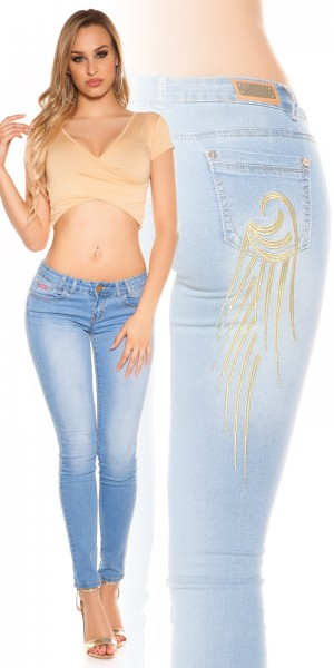Sexy KouCla Skinny Jeans mit Flügelstickerei
