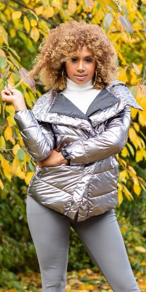 Sexy Glänzende Winterjacke mit Kapuze