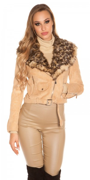 Trendy Biker Look Jacke Wildleder Look