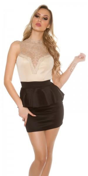Sexy KouCla-Minikleid mit Spitze an Brust