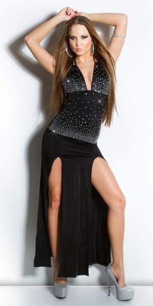 Sexy KouCla Neckkleid mit Strass und Ausschnitt