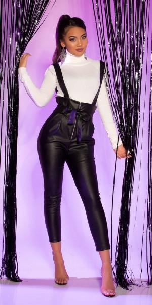 Sexy Lederlook Paperbag Hose mit Trägern