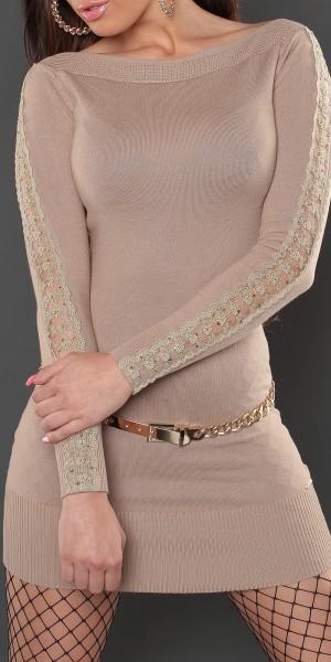 Sexy KouCla Strick-Minikleid mit Spitze und Nieten