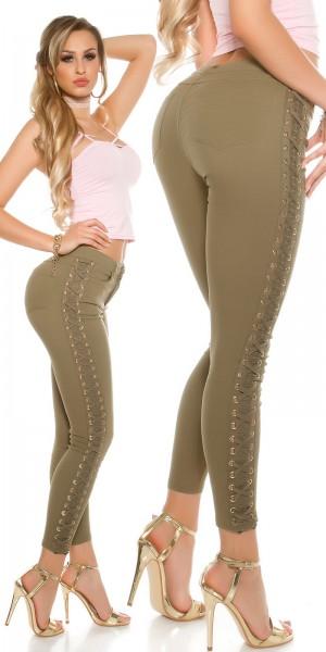 Sexy Skinny Jeans mit Spitze und Schnürung