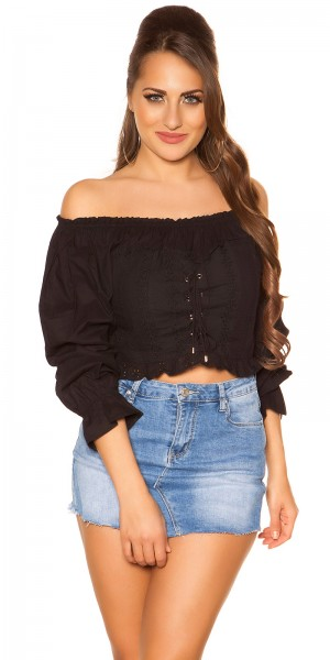 Trendy Off Shoulder Langarmshirt mit Schnürung
