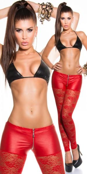 Sexy KouCla Spitzenleggings mit Reißverschluss