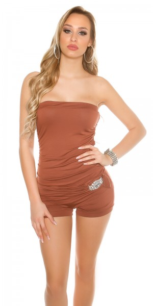 Sexy Bandeau-Overall mit Strass-Schnalle