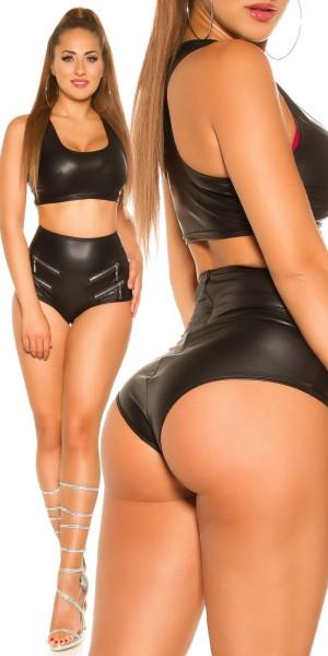Sexy KouCla Wetlook Hotpants mit Zips