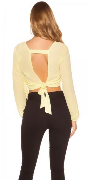 Sexy Crop Langarm Bluse sexy Rücken