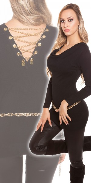 Sexy Feinstrick-Longpulli mit Ketten