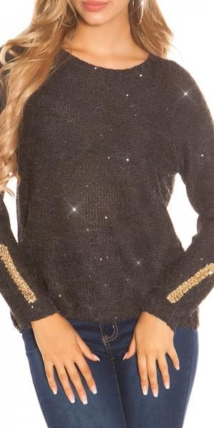 Trendy Pailletten Pullover mit Ketten