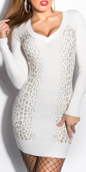 Sexy KouCla Strickkleid mit Strass-Print