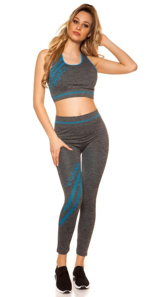 Trendy Workout Outfit Crop Top & Leggings