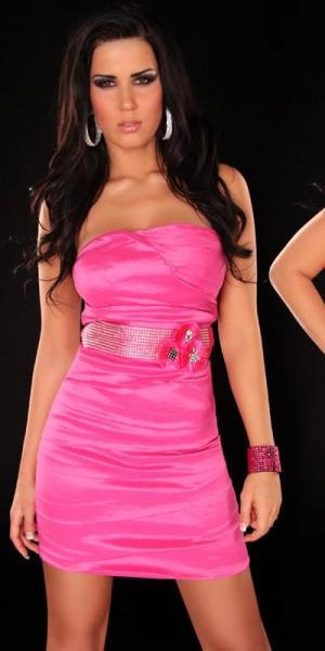 Sexy Bandeau Kleid + Gürtel mit Strasssteinen