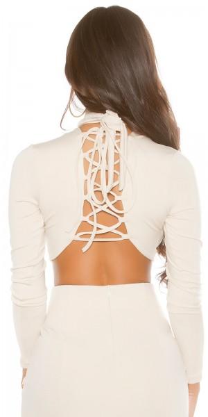Sexy KouCla Langarm Crop Shirt geschnürt
