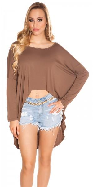 Trendy KouCla HighLow Oversize Crop Shirt